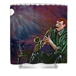 A Little Sax Shower Curtain by Donna Blackhall