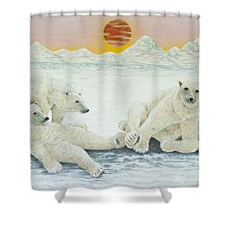 A Long Days Night Shower Curtain by Pat Scott