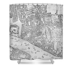 A Map Of The Tower Of London Shower Curtain by John Rocque