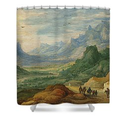 A Mountainous Landscape With Travellers And Herdsmen On A Path Shower Curtain by Jan Brueghel and Joos de Momper