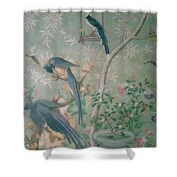 A Pair Of Magpie Jays  Vintage Wallpaper Shower Curtain by John James Audubon