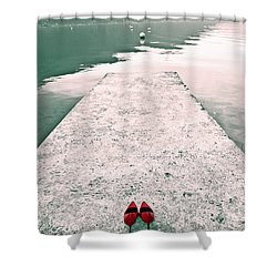 A Pair Of Red Women's Shoes Lying On A Walkway That Leads Into A Shower Curtain by Joana Kruse
