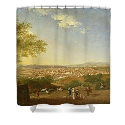 A Panoramic View Of Florence From Bellosguardo Shower Curtain by Thomas Patch