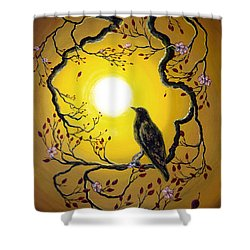 A Raven Remembers Spring Shower Curtain by Laura Iverson