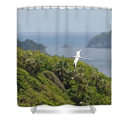 A Red-billed Tropicbird (phaethon Shower Curtain by John Edwards