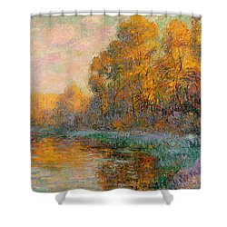 A River In Autumn Shower Curtain by Gustave Loiseau