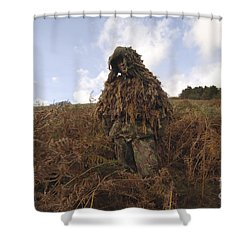 A Sniper Dressed In A Ghillie Suit Shower Curtain by Andrew Chittock