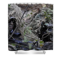 A Sniper Team Spotter And Shooter Shower Curtain by Stocktrek Images