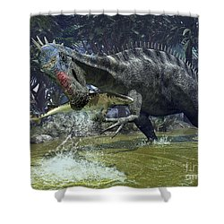 A Suchomimus Snags A Shark From A Lush Shower Curtain by Walter Myers