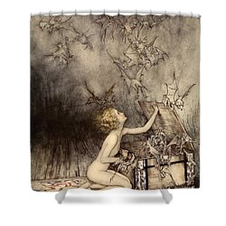 A Sudden Swarm Of Winged Creatures Brushed Past Her Shower Curtain by Arthur Rackham