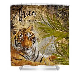 A Taste Of Africa Tiger Shower Curtain by Mindy Sommers