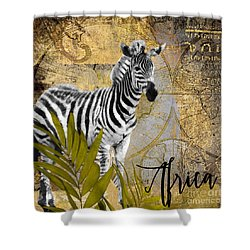 A Taste Of Africa Zebra Shower Curtain by Mindy Sommers