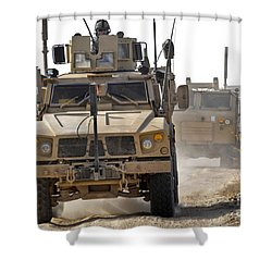 A U.s. Army M-atv Leads A Convoy Shower Curtain by Stocktrek Images