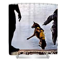 A U.s. Soldier And His Military Working Shower Curtain by Stocktrek Images