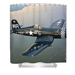 A Vought F4u-5 Corsair In Flight Shower Curtain by Scott Germain