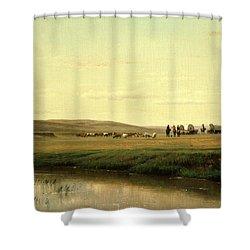 A Wagon Train On The Plains Shower Curtain by Thomas Worthington Whittredge