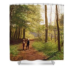 A Walk In The Forest Shower Curtain by Niels Christian Hansen
