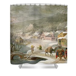 A Winter Landscape With Travellers On A Path Shower Curtain by Denys van Alsloot