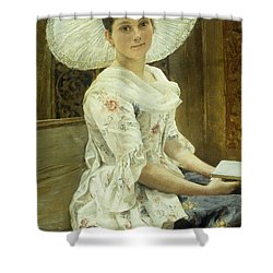 A Young Beauty In A White Hat  Shower Curtain by Franz Xaver Simm