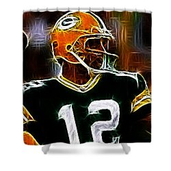 Aaron Rodgers - Green Bay Packers Shower Curtain by Paul Ward