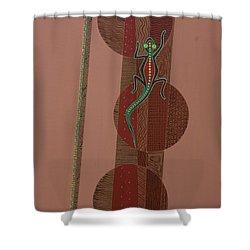 Aboriginal Lizard Shower Curtain by Kaaria Mucherera