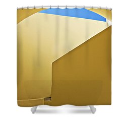 Abstract Architecture In Yellow Shower Curtain by Meirion Matthias