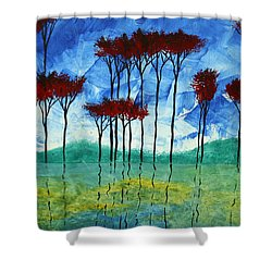 Abstract Art Original Landscape Painting Reflective Beauty By Madart Shower Curtain by Megan Duncanson