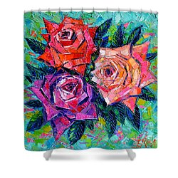 Abstract Bouquet Of Roses Shower Curtain by Mona Edulesco