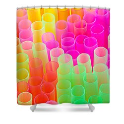 Abstract Drinking Straws Shower Curtain by Meirion Matthias
