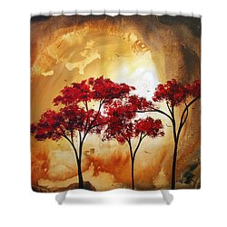 Abstract Landscape Painting Empty Nest 2 By Madart Shower Curtain by Megan Duncanson