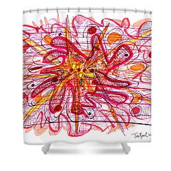 Abstract Pen Drawing Fifteen Shower Curtain by Lynne Taetzsch