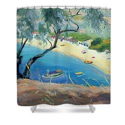 Achladies Bay - Skiathos - Greece Shower Curtain by Anne Durham