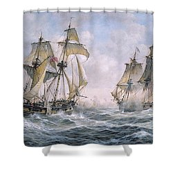 Action Between U.s. Sloop-of-war 'wasp' And H.m. Brig-of-war 'frolic' Shower Curtain by Richard Willis