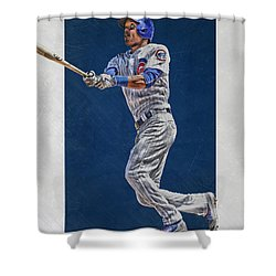 Addison Russell Chicago Cubs Art Shower Curtain by Joe Hamilton