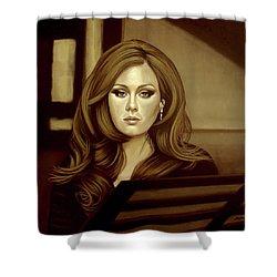 Adele Gold Shower Curtain by Paul Meijering