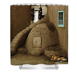 Adobe Oven Shower Curtain by Angela Wright