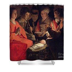 Adoration Of The Shepherds Shower Curtain by Georges de la Tour