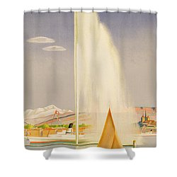 Advertisement For Travel To Geneva Shower Curtain by Fehr