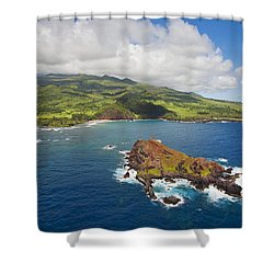 Aerial Of Alau Islet Shower Curtain by Ron Dahlquist - Printscapes