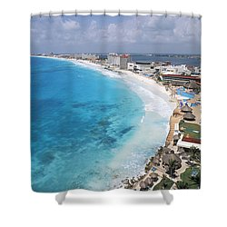 Aerial Of Cancun Shower Curtain by Bill Bachmann - Printscapes