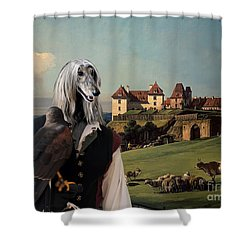 Afghan Hound-falconer And Castle Canvas Fine Art Print Shower Curtain by Sandra Sij