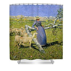 Afternoon In The Alps Shower Curtain by Giovanni Segantini