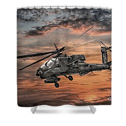 Ah-64 Apache Attack Helicopter Shower Curtain by Randy Steele