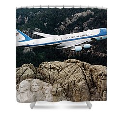 Air Force One Flying Over Mount Rushmore Shower Curtain by War Is Hell Store