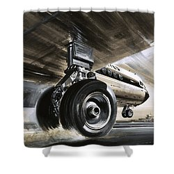 Aircraft Landing Or Taking Off Shower Curtain by Wilf Hardy