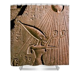 Akhenaton With Sun God Shower Curtain by Science Source