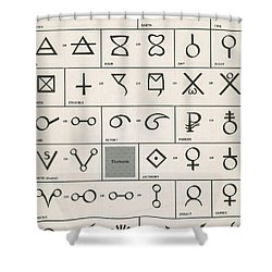 Alchemy Symbols Shower Curtain by Science Source