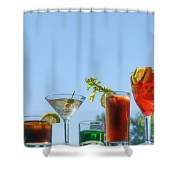 Alcoholic Beverages - Outdoor Bar Shower Curtain by Nikolyn McDonald