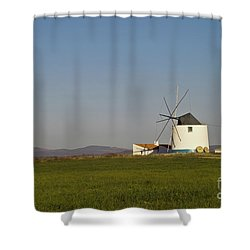 Algarve Windmill Shower Curtain by Heiko Koehrer-Wagner