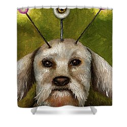 Alien Dog Shower Curtain by Leah Saulnier The Painting Maniac